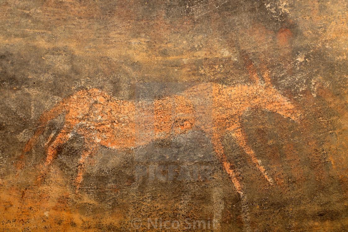 """Bushmen rock painting - South Africa"" stock image"