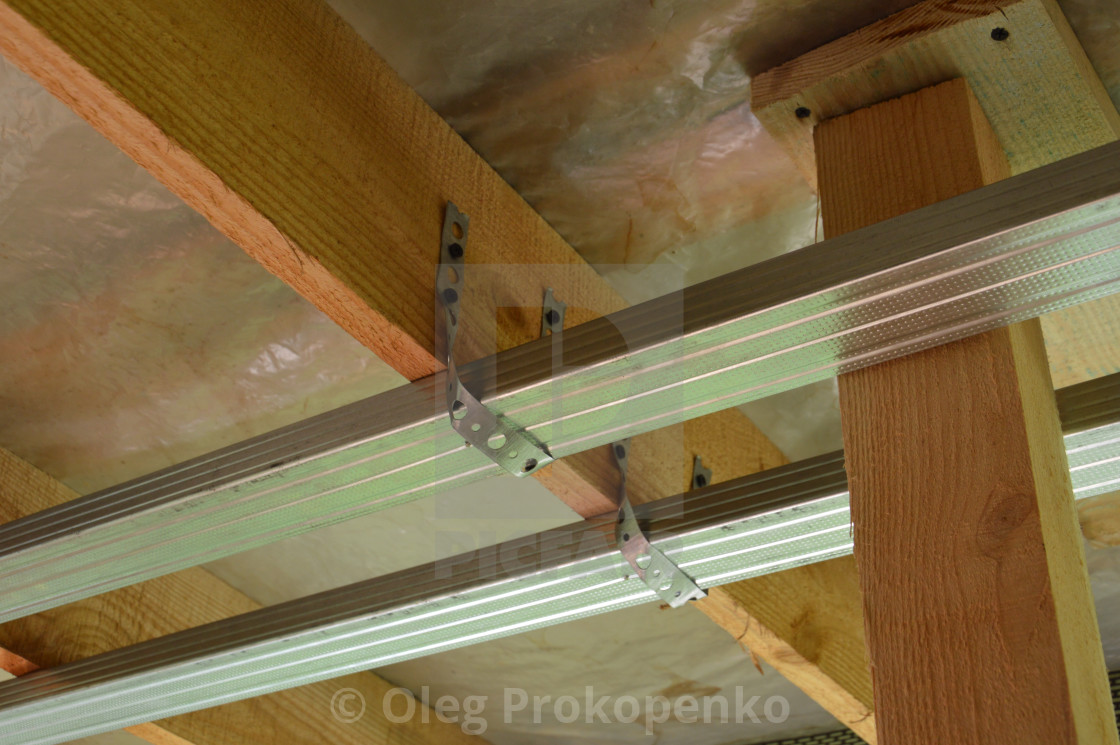 """The design of the metal profile for attaching drywall"" stock image"