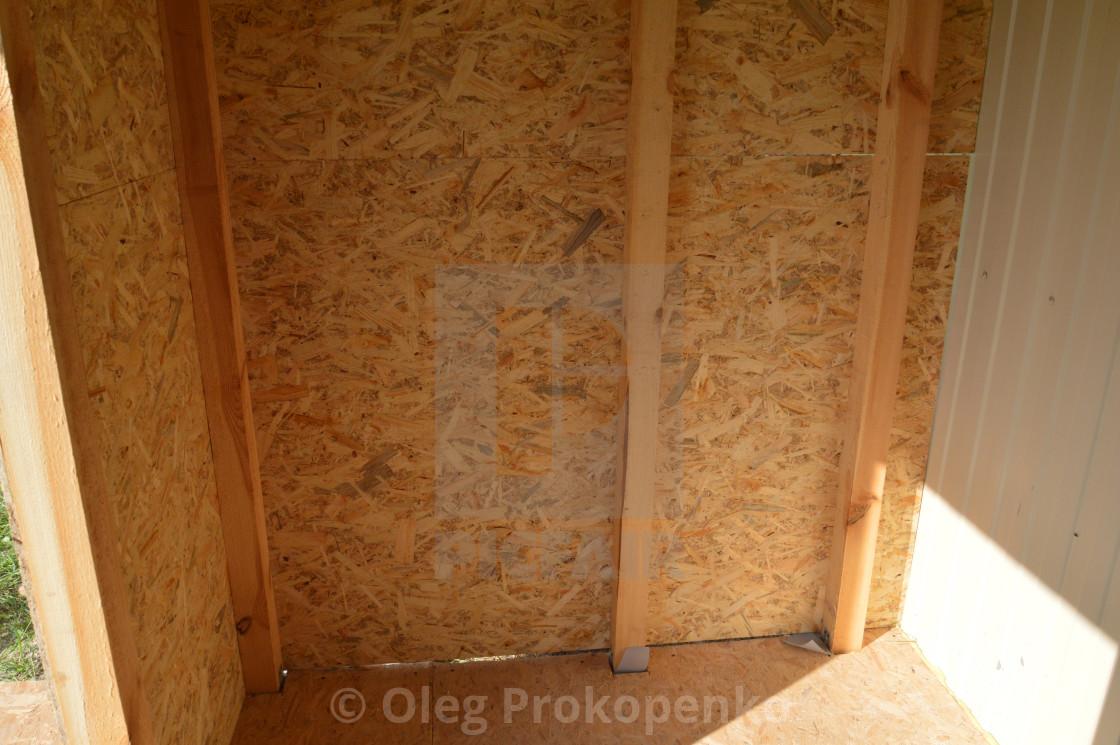 """Cladding wood chipboards at home"" stock image"