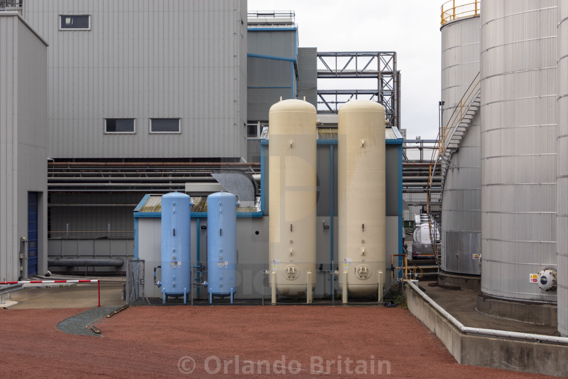 """Industrial Gas Cylinders - Thames Estuary"" stock image"