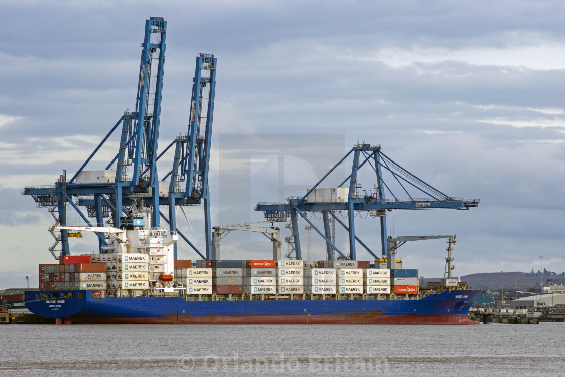 """Container Ship at Tilbury Docks"" stock image"