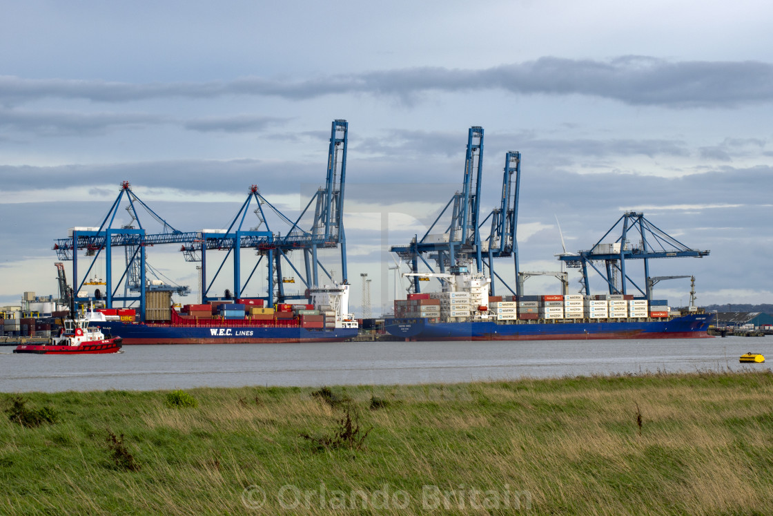 """Container Ships at Port of Tilbury"" stock image"