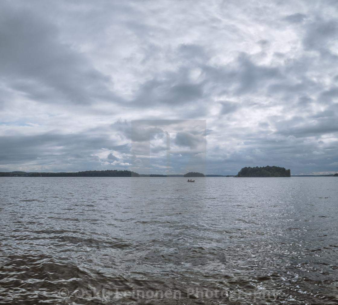 """Boat, Lake And Island"" stock image"