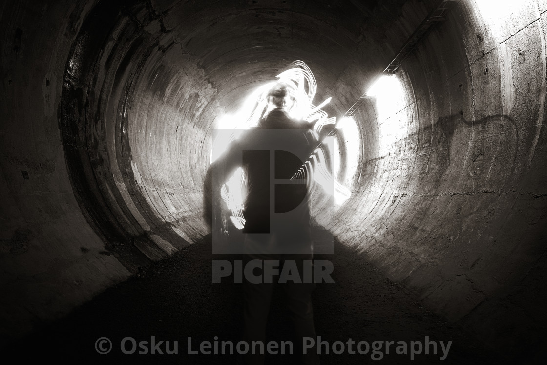 """Bringing Light II (A Tunnel)"" stock image"