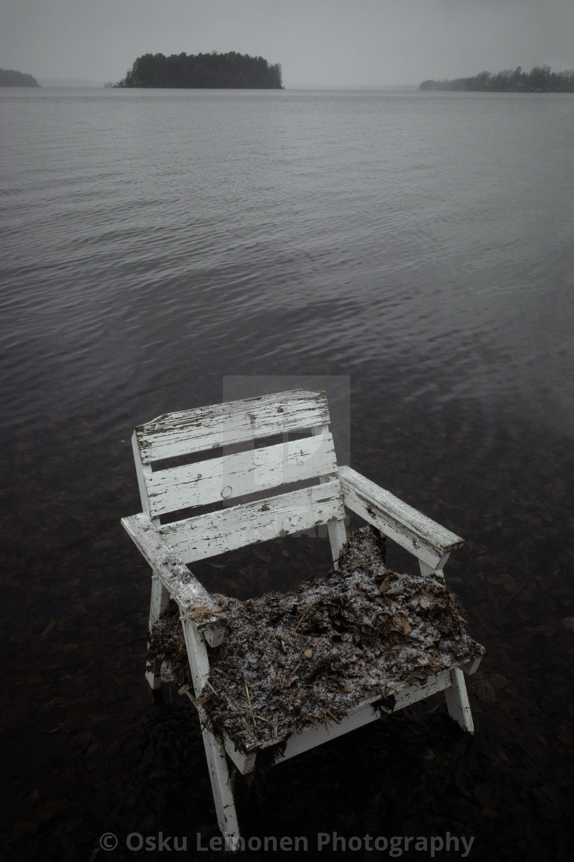 """Spirit Of the Winter Lake II (Garden Chair)"" stock image"