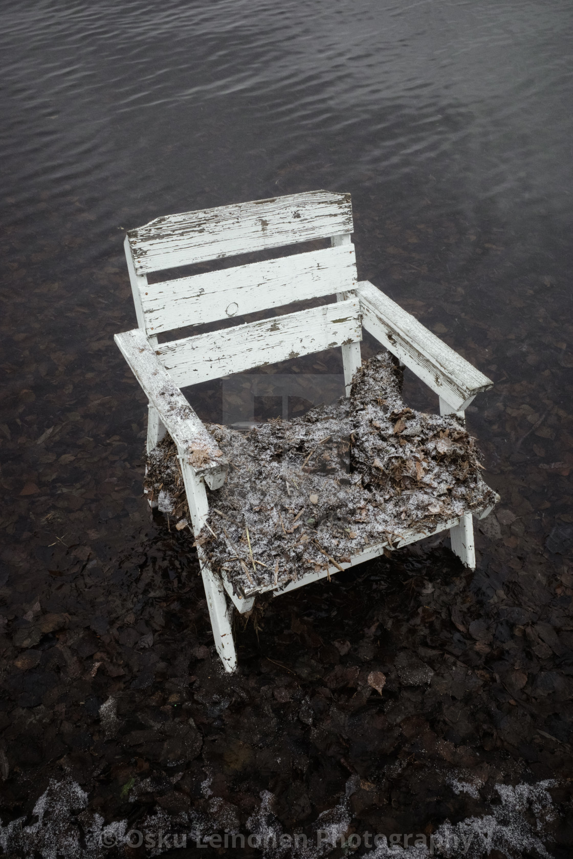 """Spirit Of the Winter Lake III (Garden Chair)"" stock image"