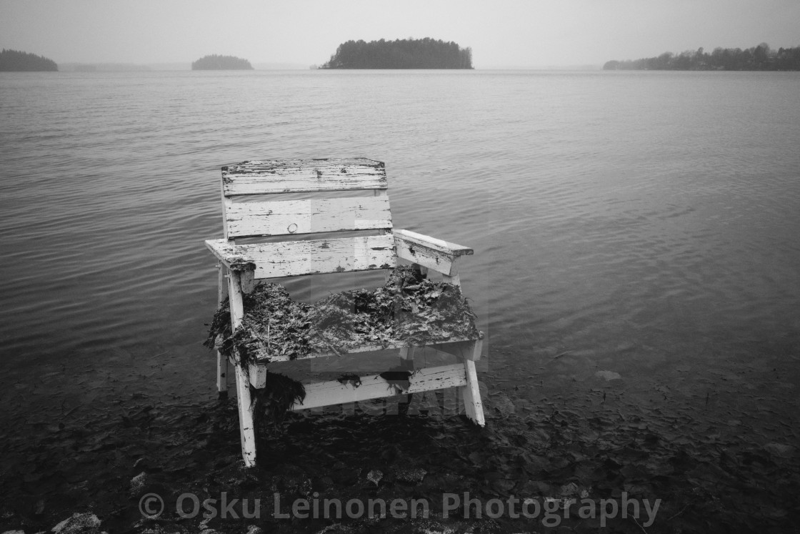"""Spirit Of the Winter Lake VII (Garden Chair)"" stock image"