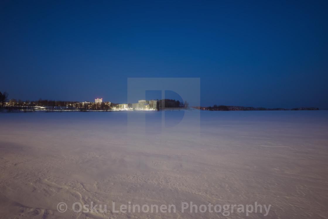 """""""City Lights II (Lake Näsijärvi)"""" stock image"""