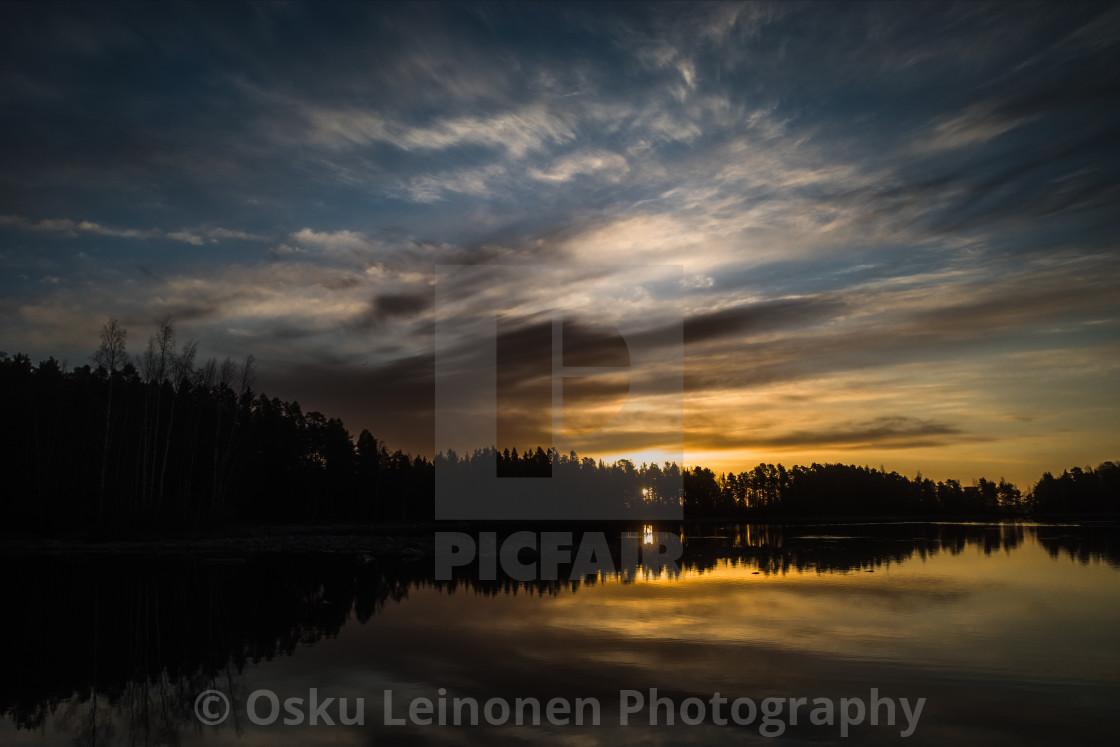 """""""Sunrise VI (Näsijärvi)"""" stock image"""