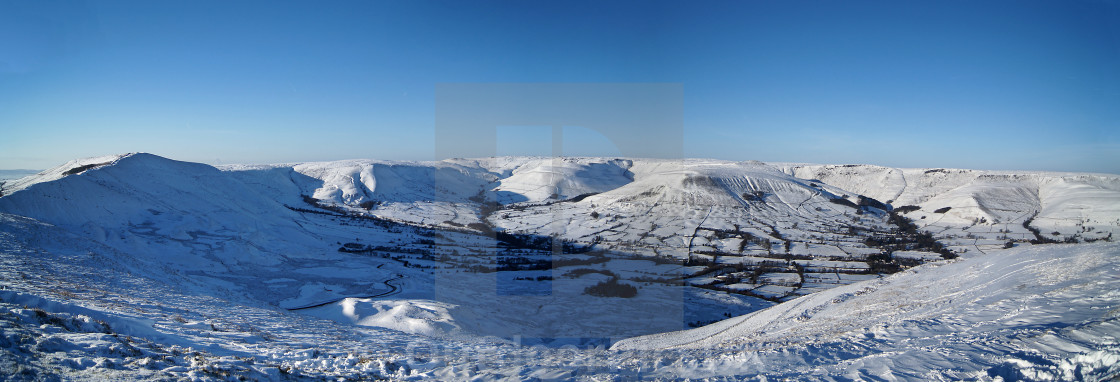 """A snowy view from Mam Tor looking towards Kinder"" stock image"