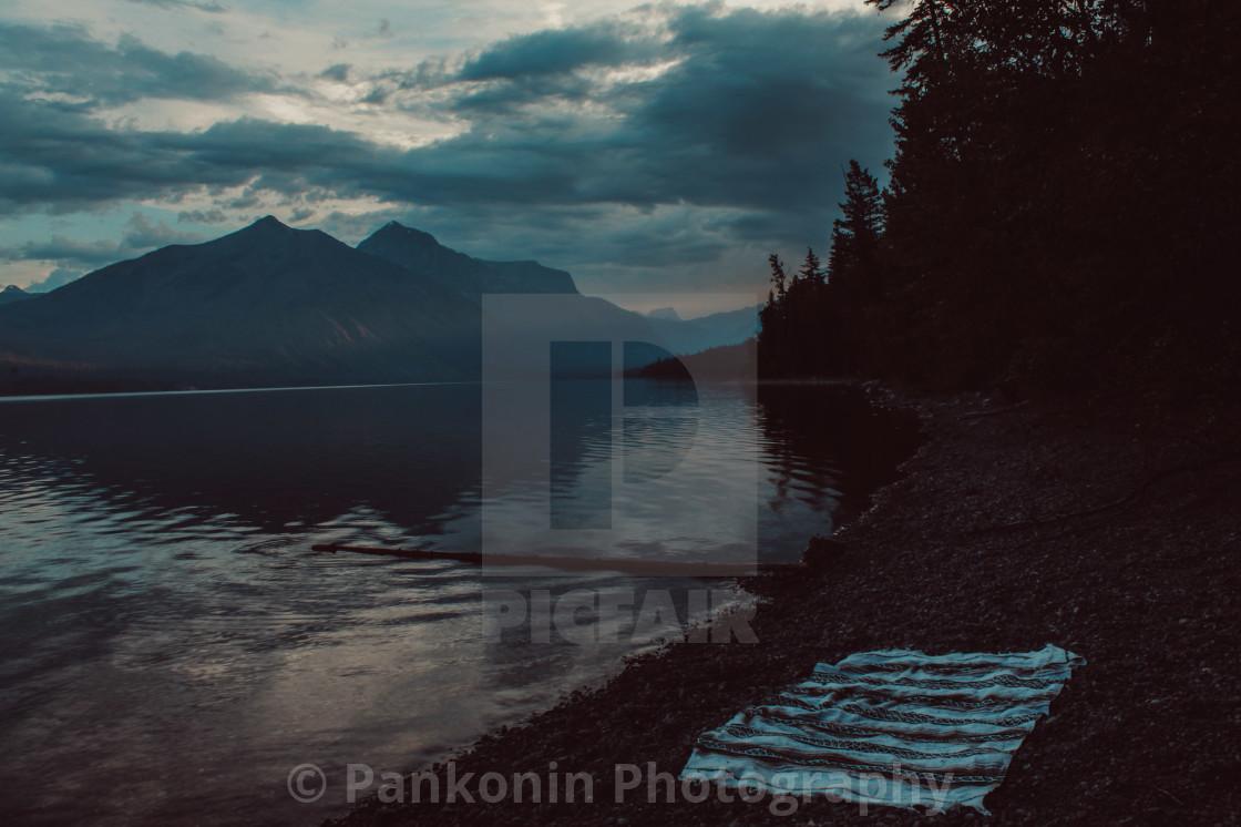 """Sunset at Lake McDonald"" stock image"