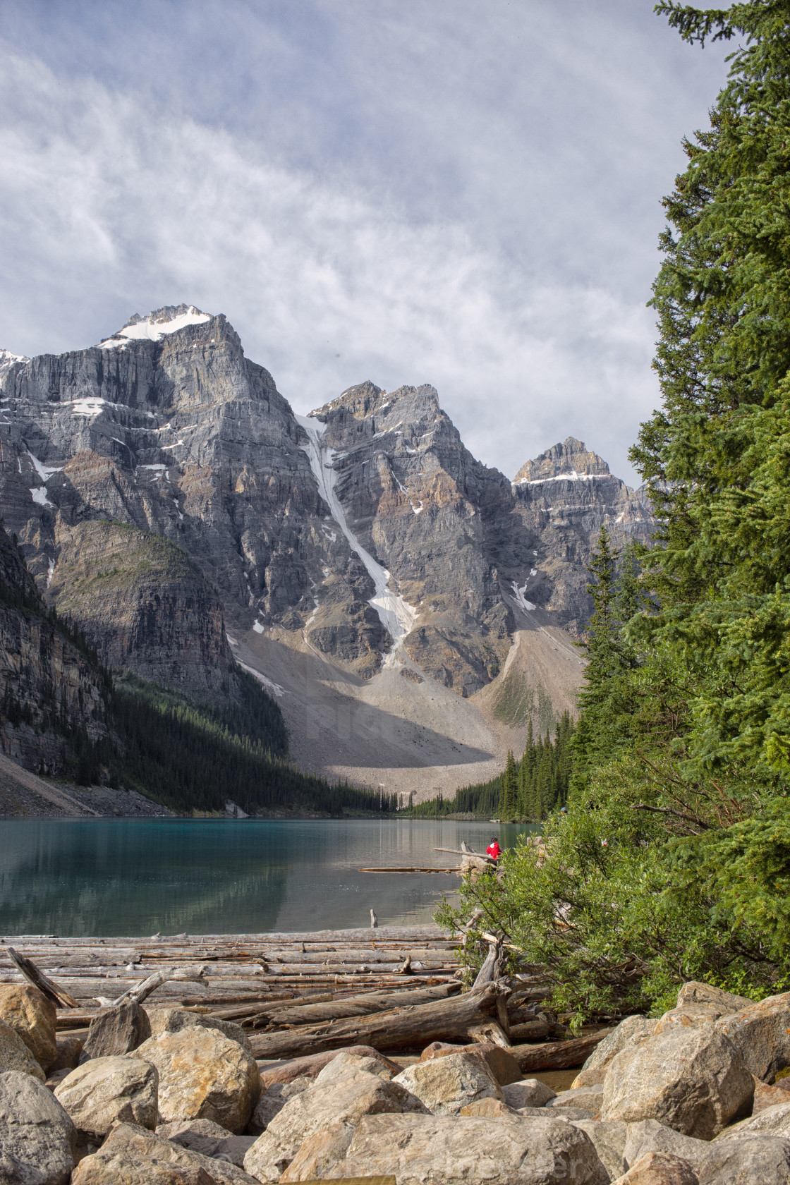"""""""Lake Moraine with logs"""" stock image"""