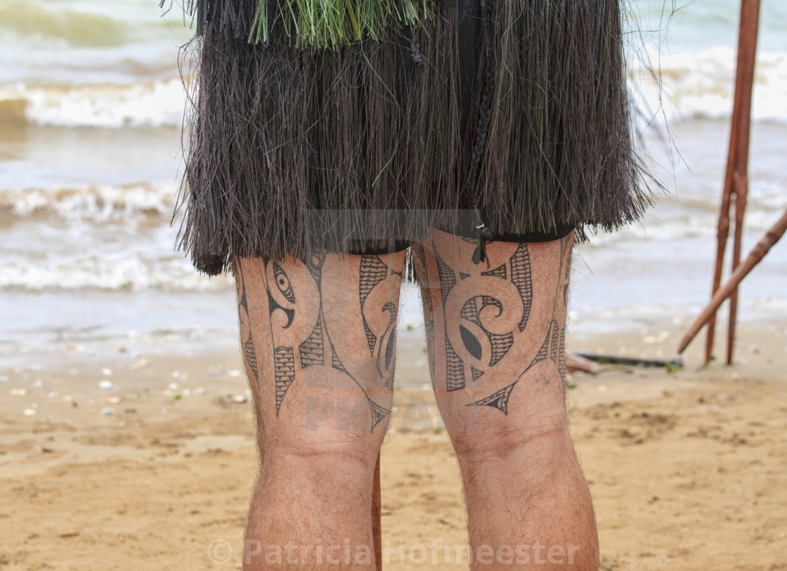 """Maori with tattoos on both legs"" stock image"