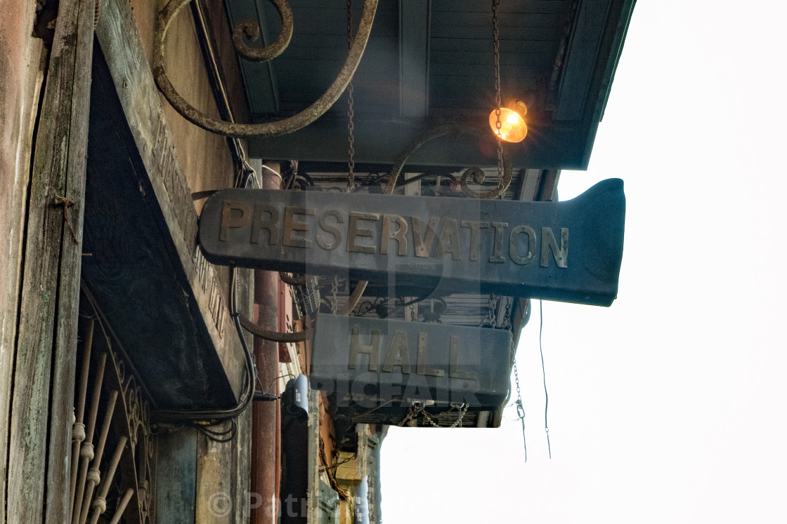 """""""Sign of the Preservation Hall in New Orleans"""" stock image"""