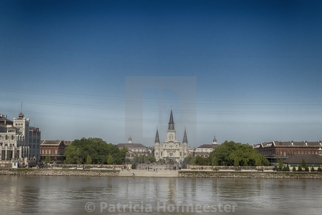 """""""View of Saint Louis Cathedral from across the Mississippi River in New Orleans, Louisiana, USA"""" stock image"""