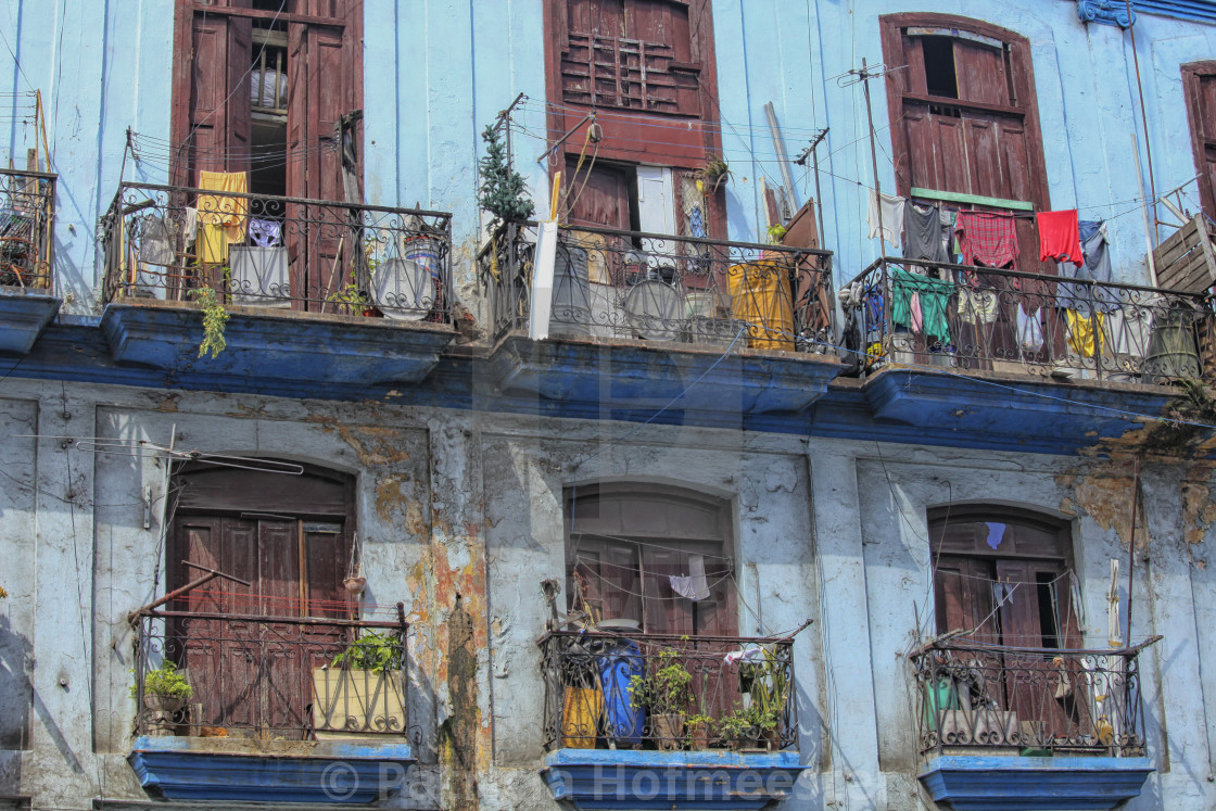 """Laundry hanging from old houses in Cuba"" stock image"