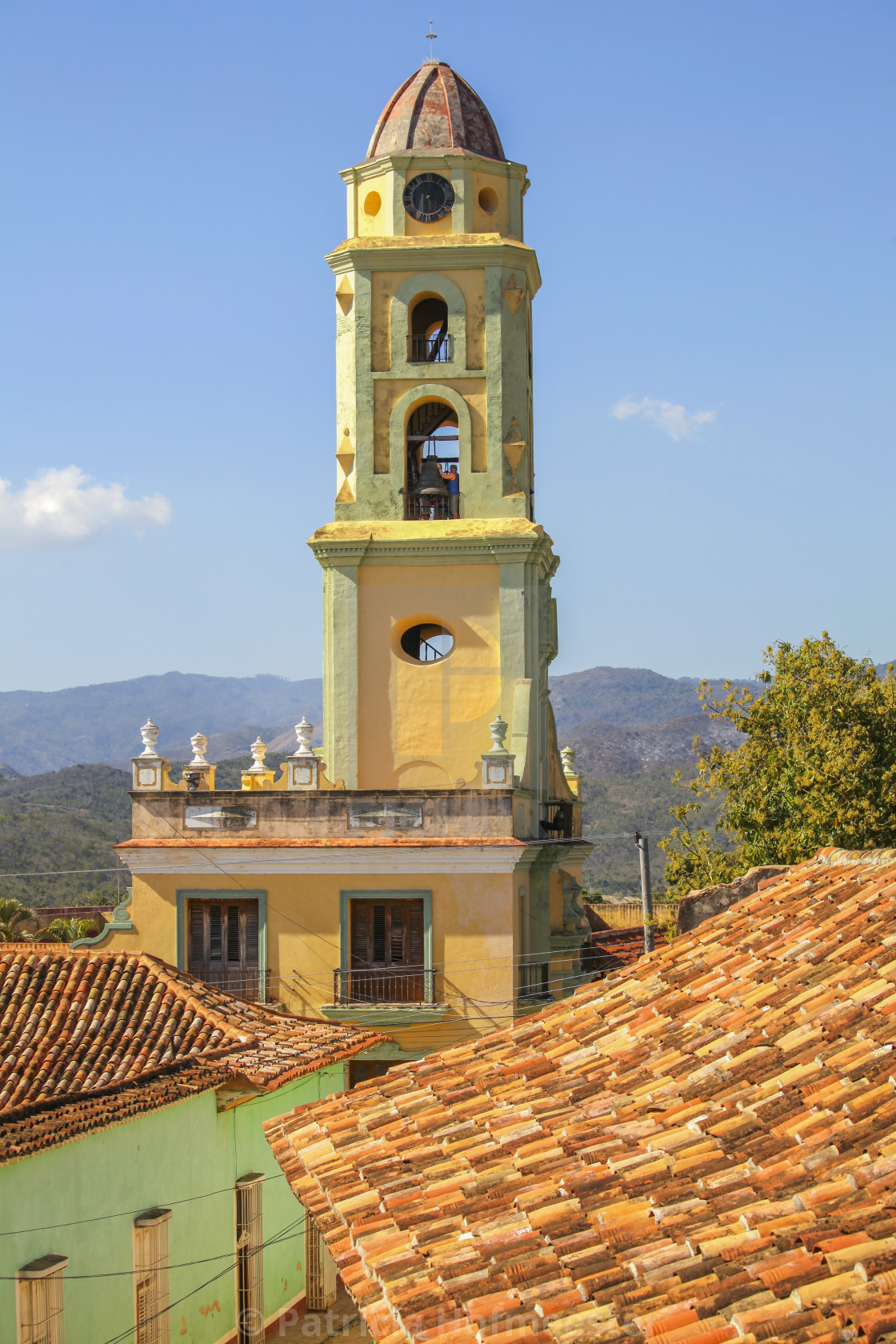 """Bell tower of church in Cuba"" stock image"