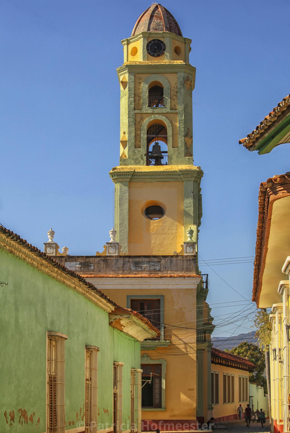 """Belltower in Trinidad, Cuba"" stock image"
