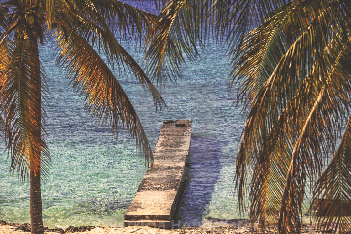 """Pier on tropical beach"" stock image"