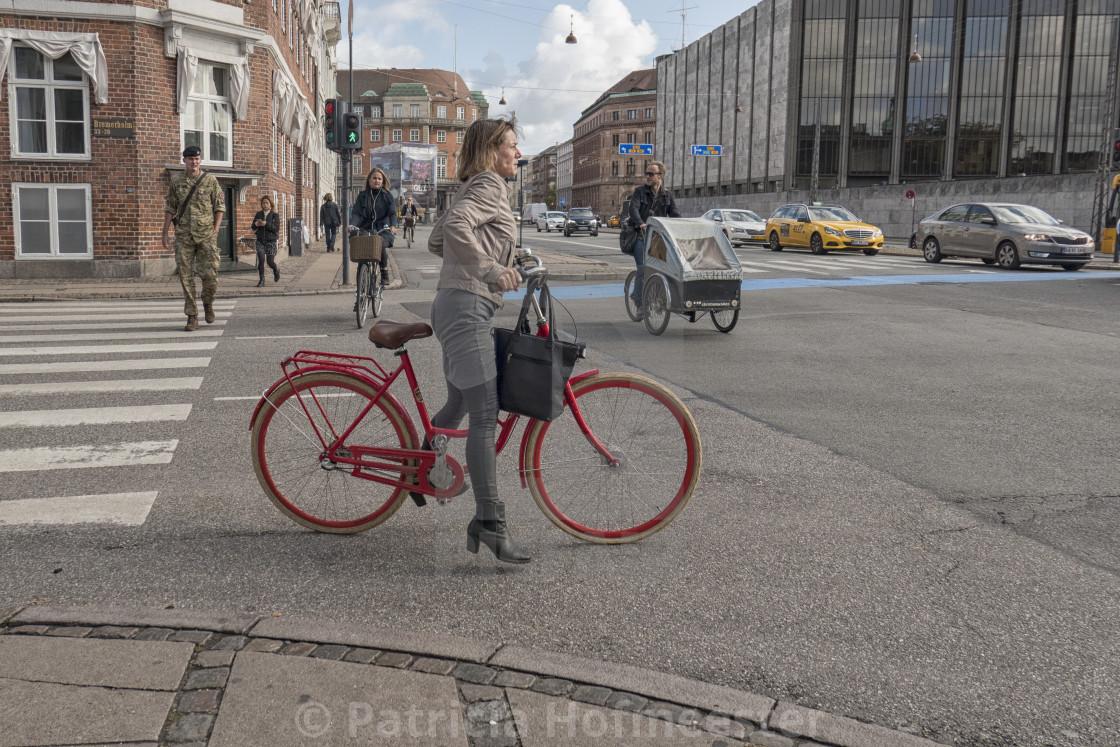 """On the street in Copenhagen"" stock image"