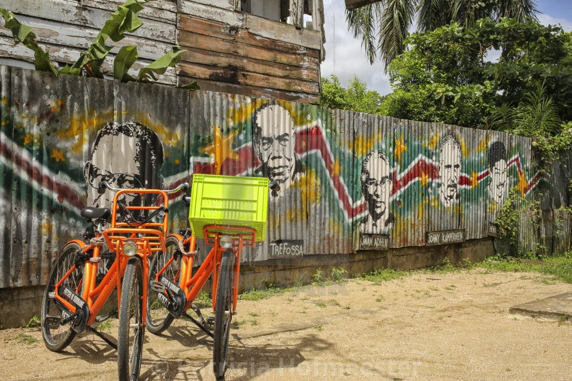 """Colorful bikes in Suriname"" stock image"