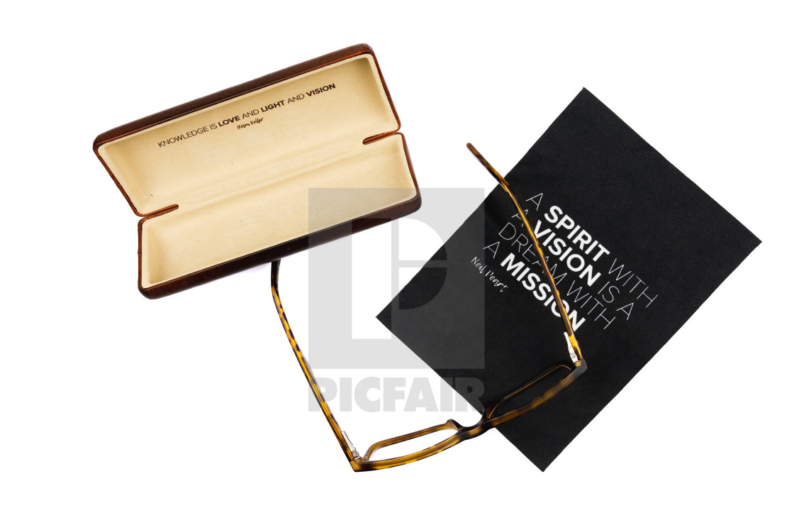 """""""Glasses and a Case with a Quote"""" stock image"""