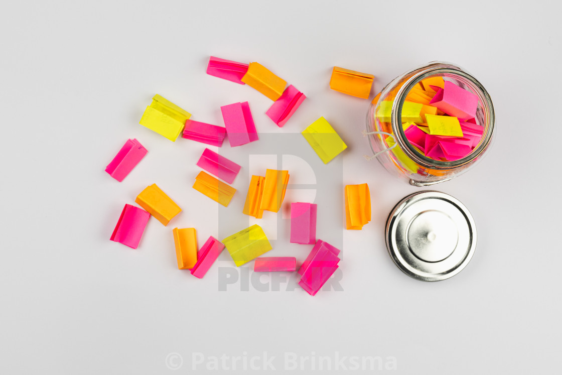 """""""Post-it Notes In Glass Jar"""" stock image"""