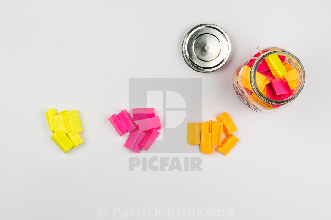 """Post-it Notes In Glass Jar"" stock image"