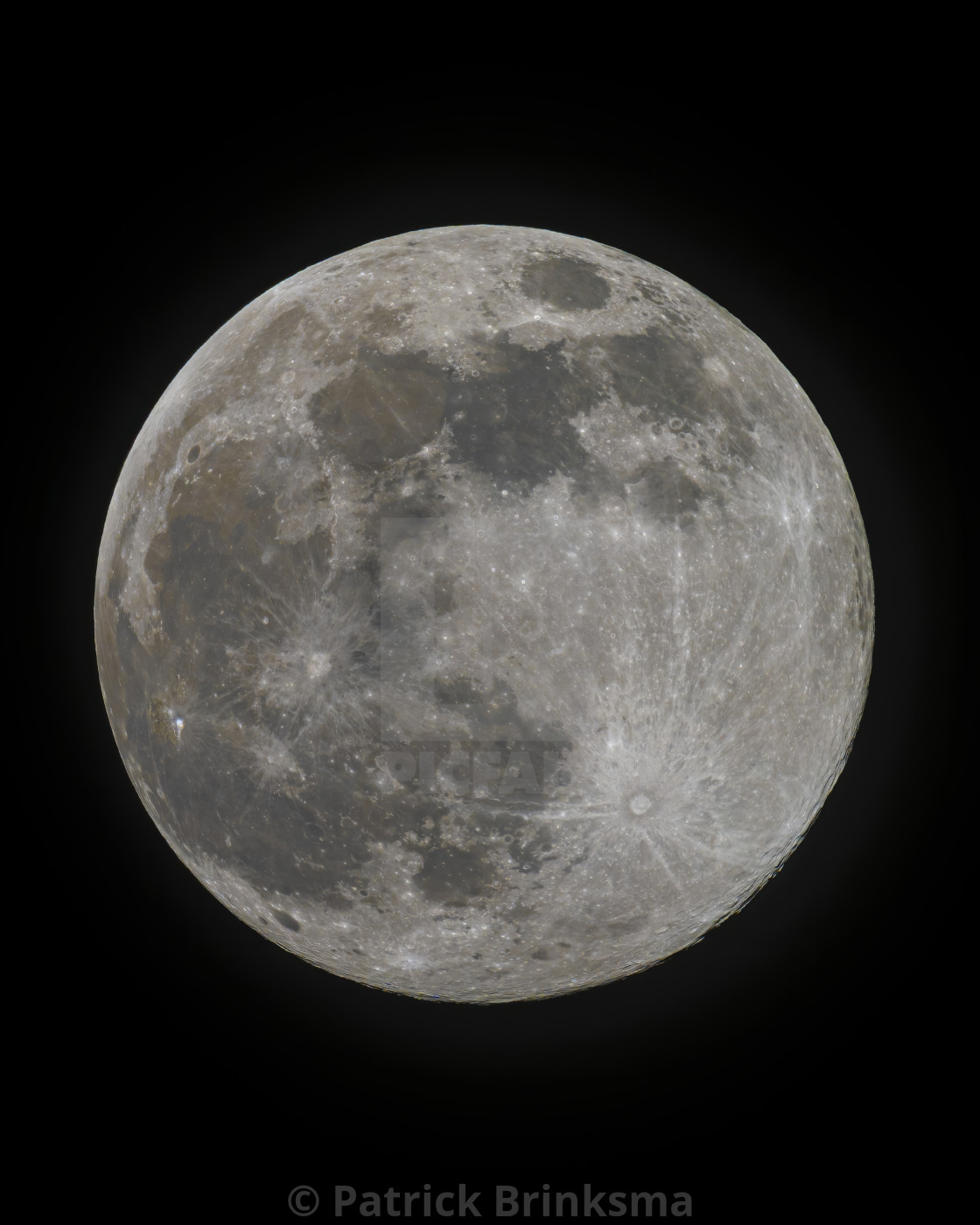 """Super Pink Moon - Full Moon - Portrait"" stock image"