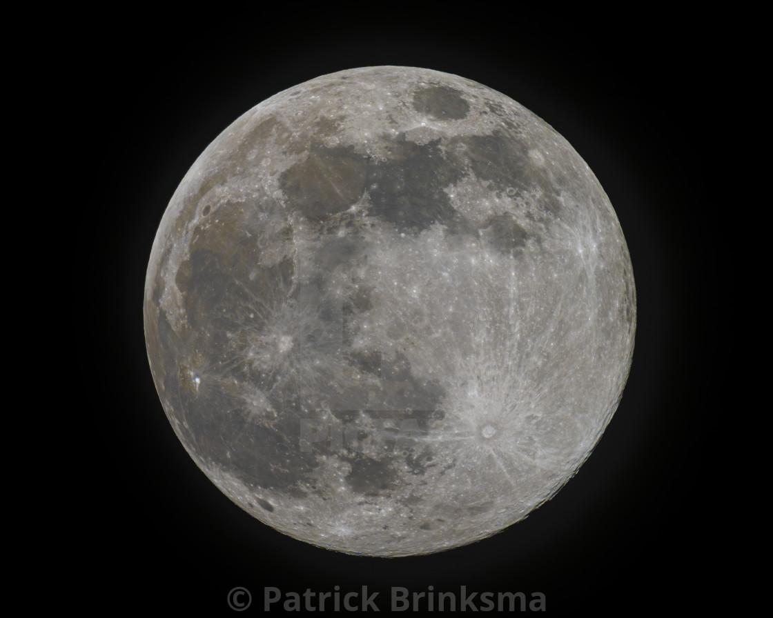 """Super Pink Moon - Full Moon - Landscape"" stock image"