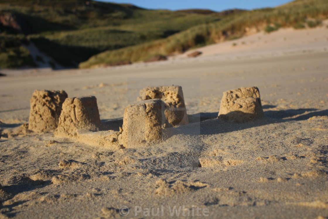 """Sandcastle on Beach"" stock image"