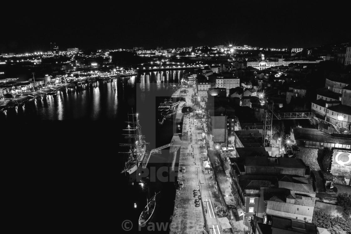 """Porto by night - monochrome"" stock image"