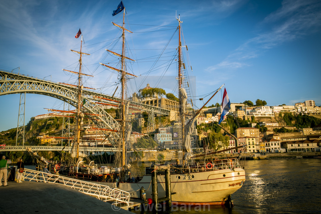 """""""Europa vintage yacht and Ponte Luis"""" stock image"""