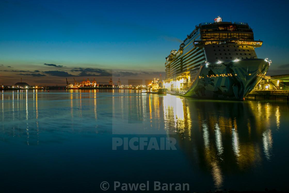 """Cruiseship and Docks by night"" stock image"