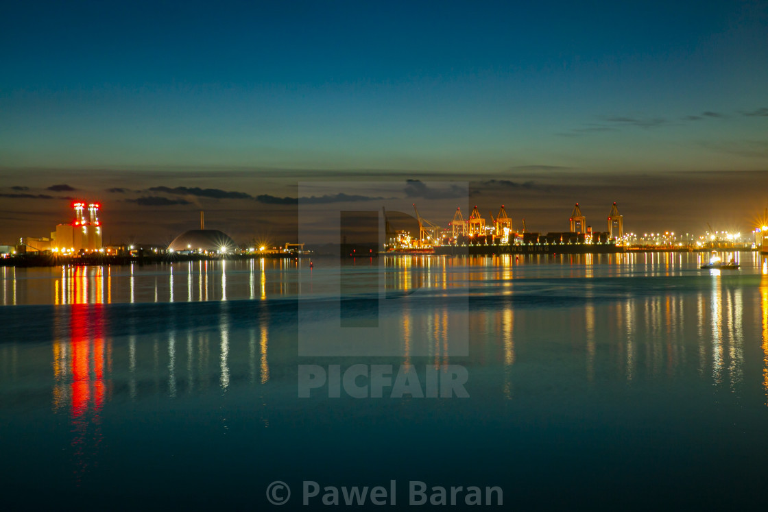 """""""The Docks by night"""" stock image"""