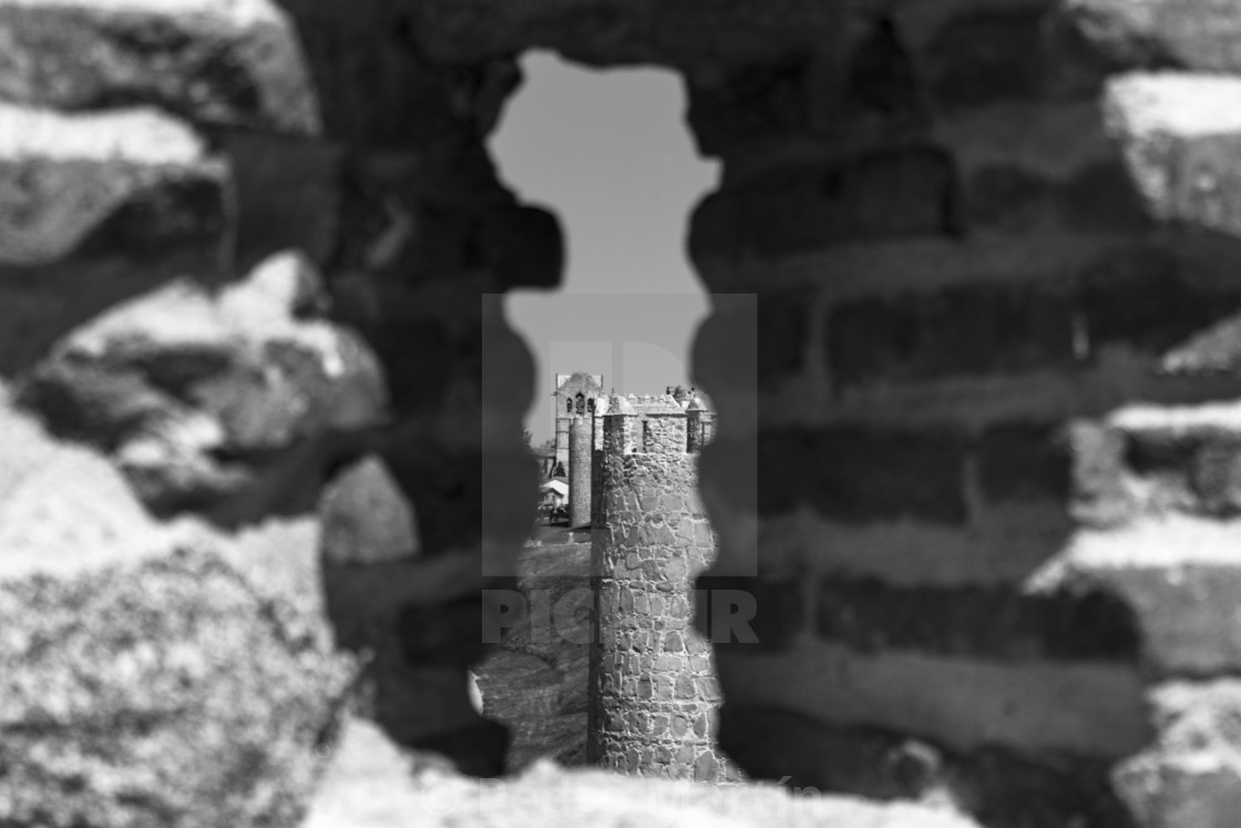 """""""Avila's rampart wall in black and white"""" stock image"""