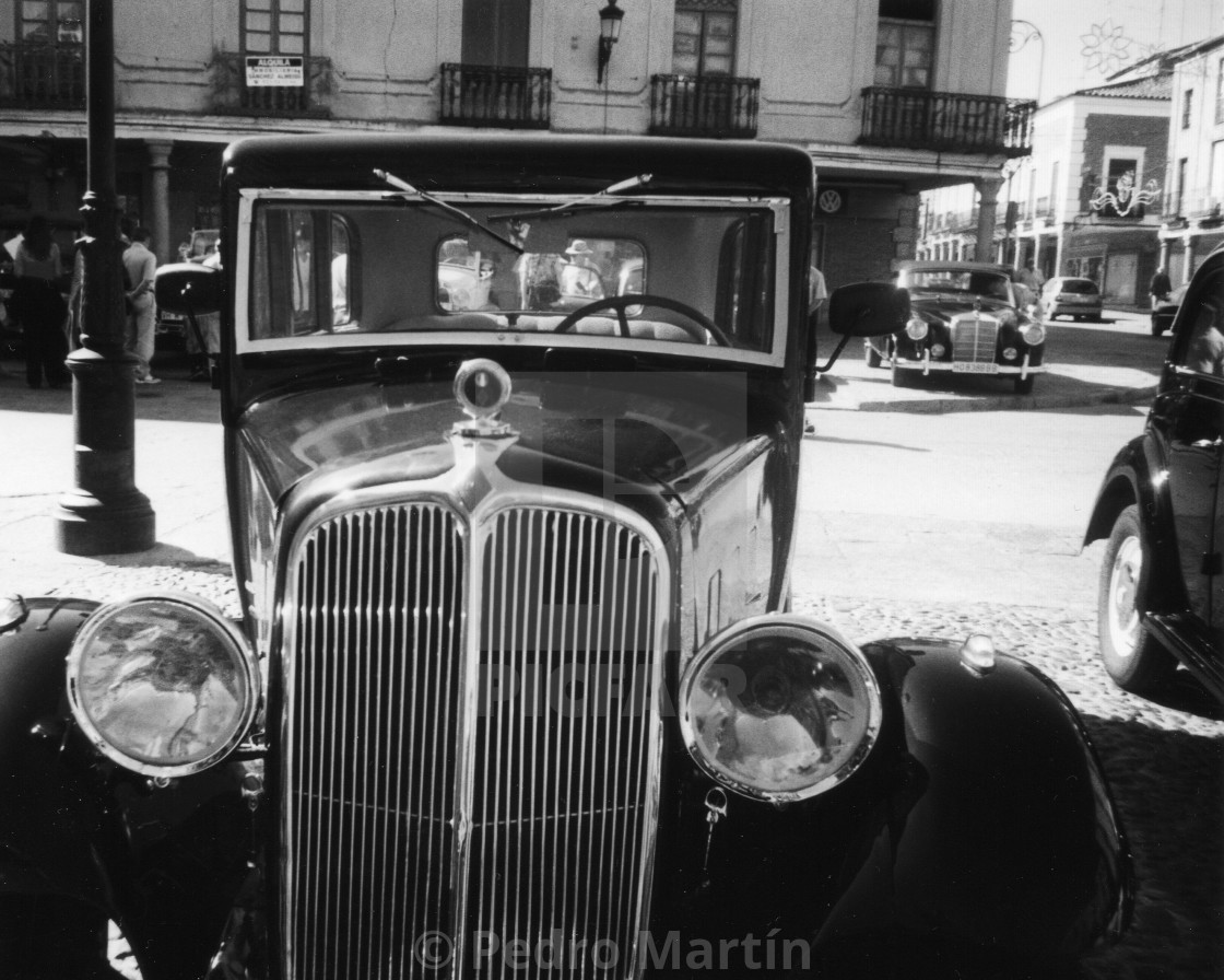 """Classic car's rally at Peñaranda, Salamanca, Spain"" stock image"