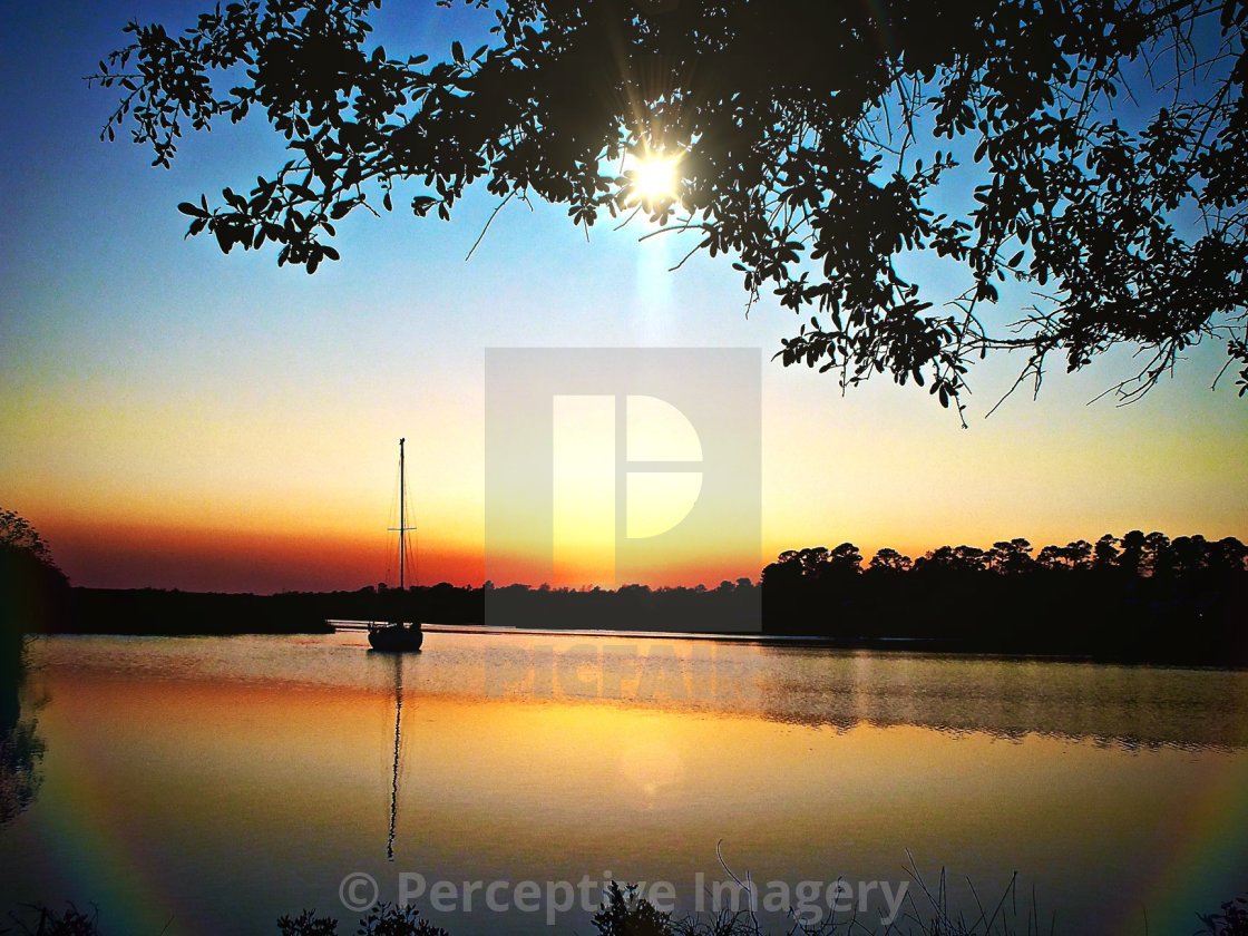 """""""Sunset On The Bay"""" stock image"""