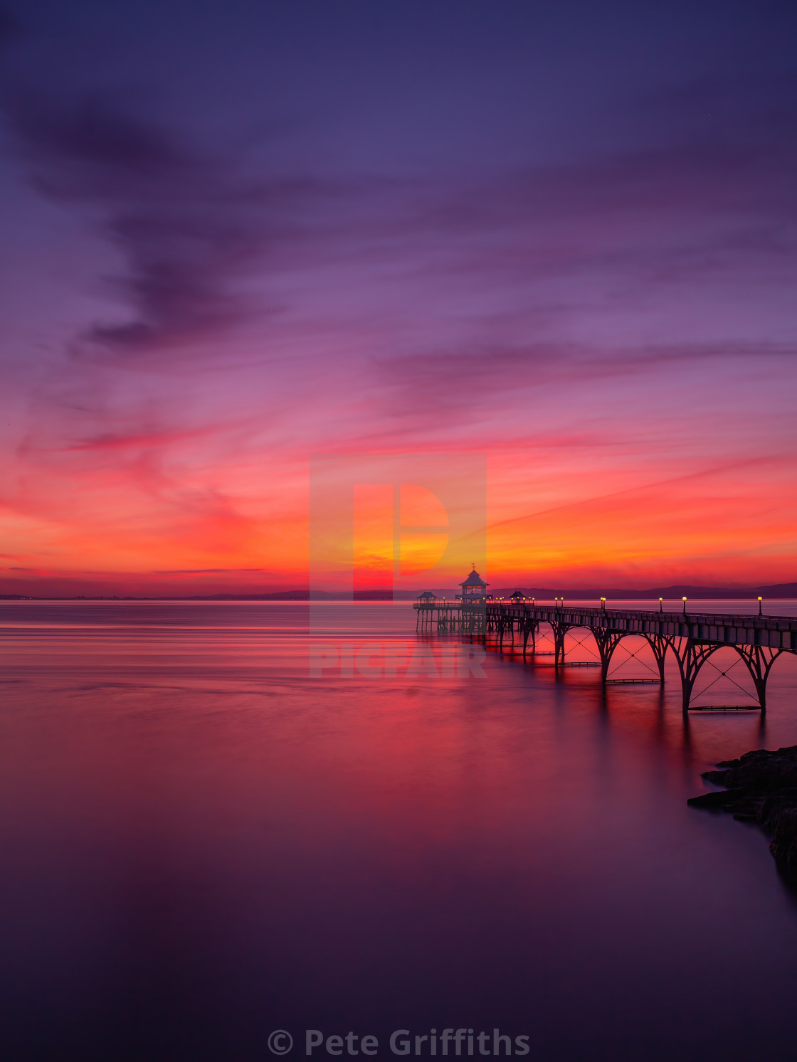 """""""Sunset over Clevedon Pier"""" stock image"""