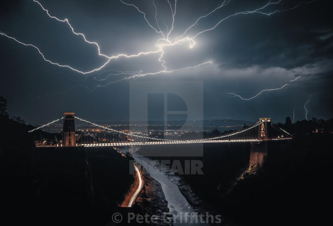 """Lightning over Bristol"" stock image"