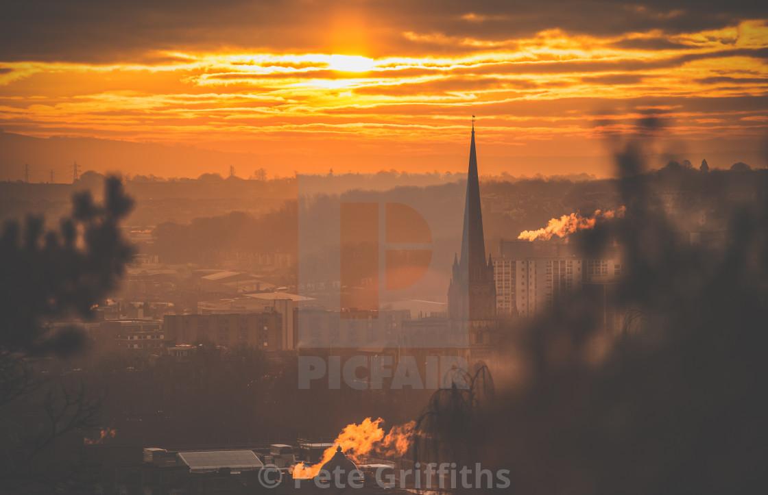 """Sunrise over Bristol"" stock image"