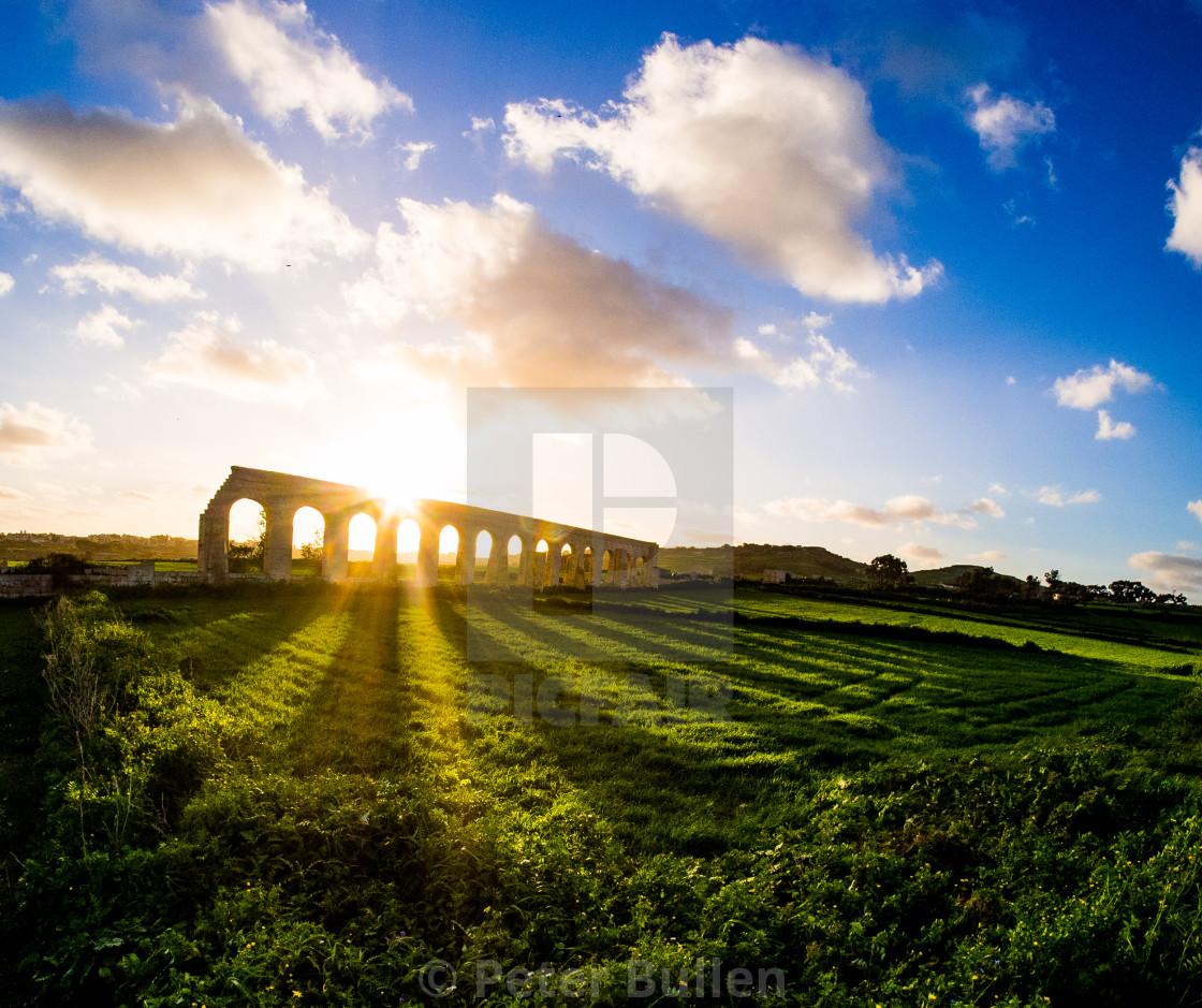 """""""Aquaduct sunset"""" stock image"""