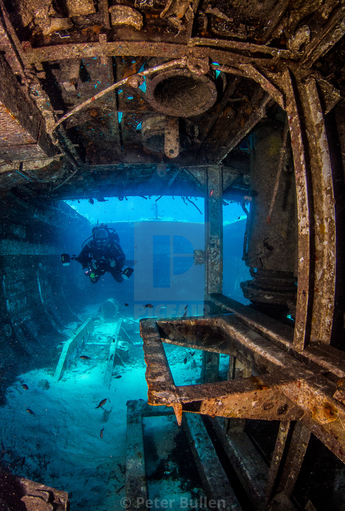 """""""Exploring the wreck"""" stock image"""