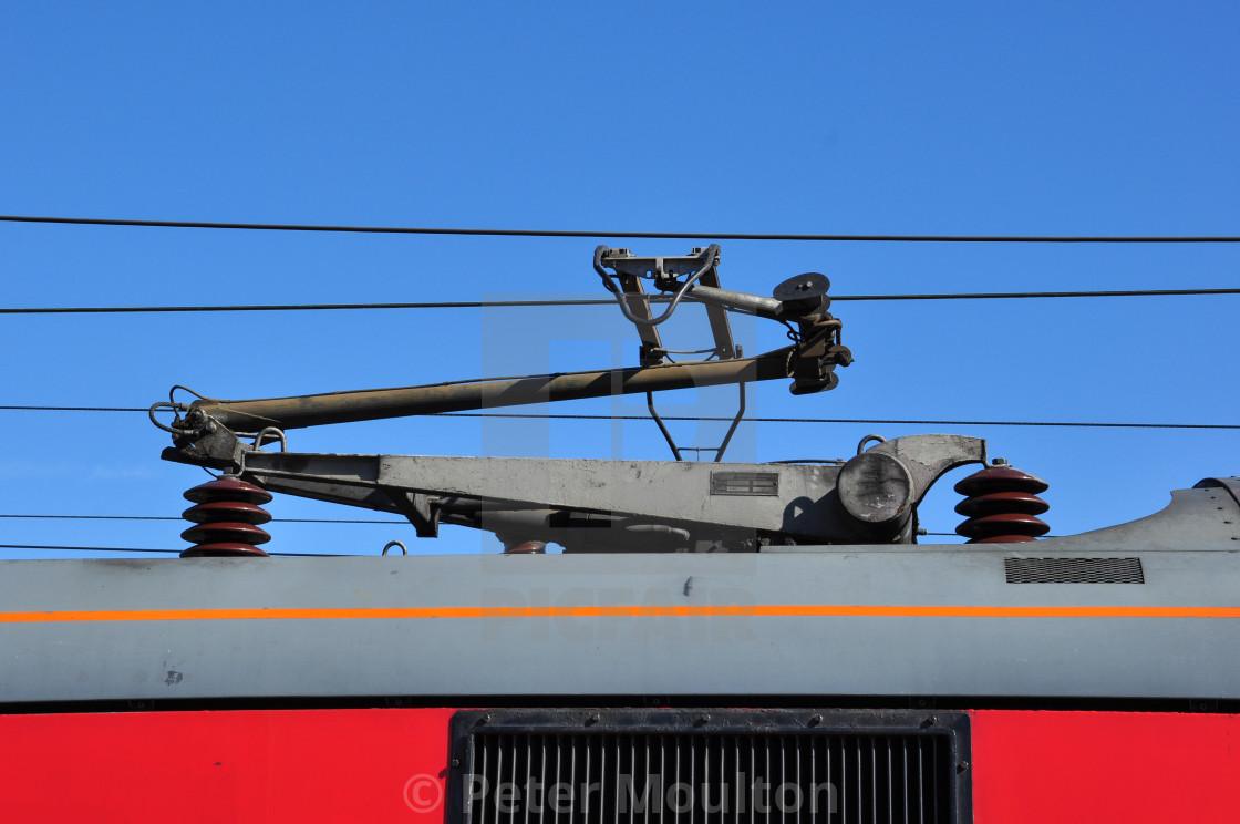 """Pantograph on Class 90 Electric Locomotive"" stock image"