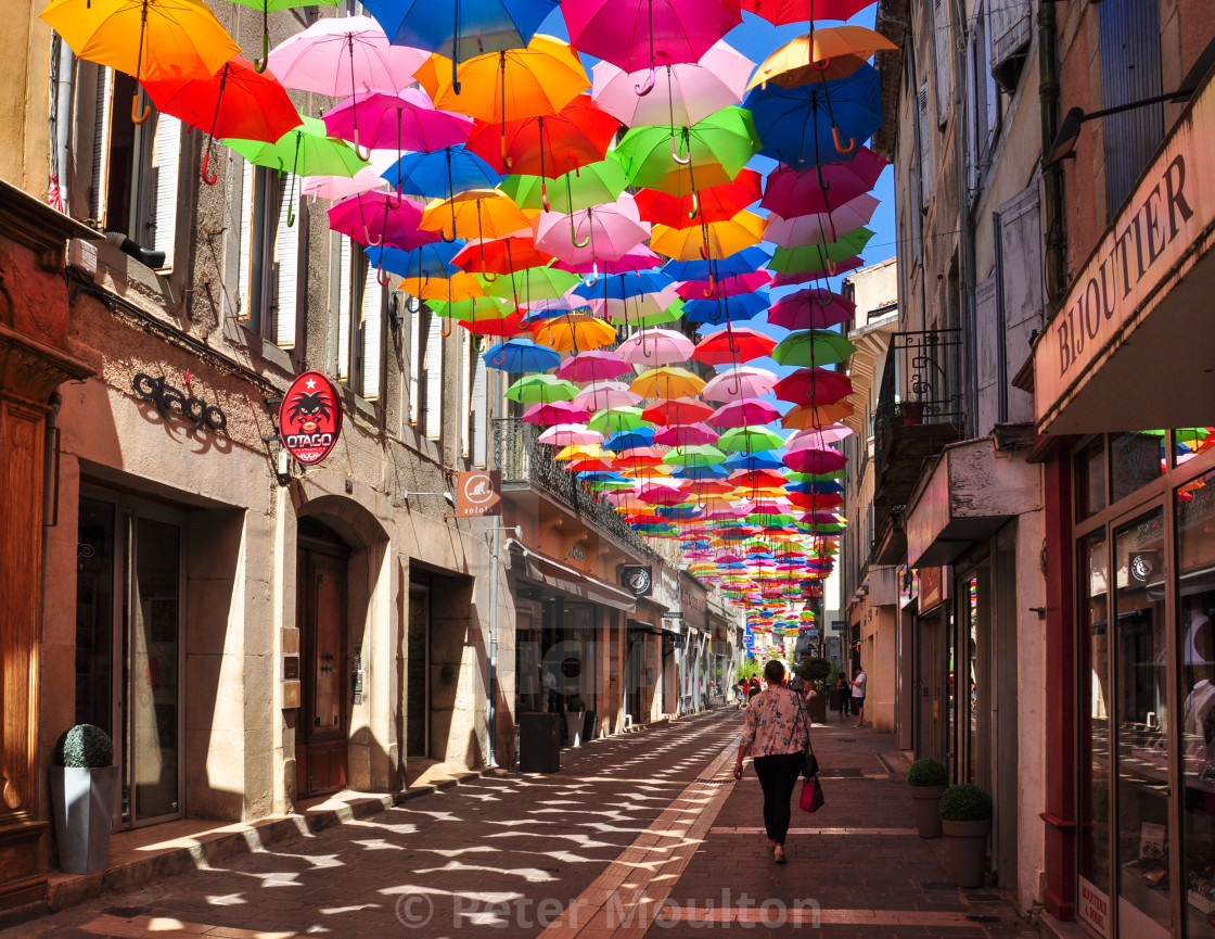 """Colourful Umbrellas, Carcassonne"" stock image"