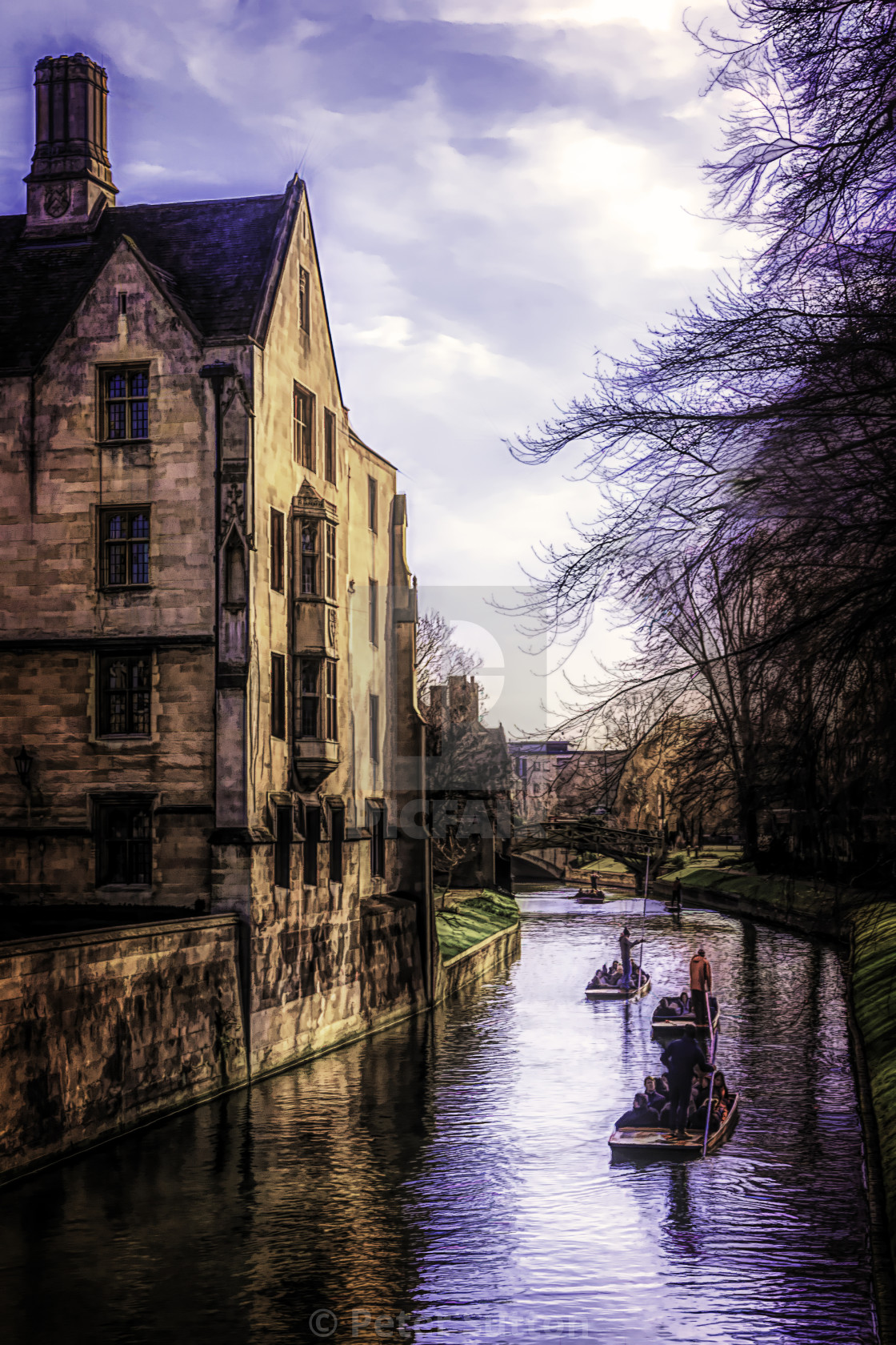 """""""Punting on the River Cam"""" stock image"""
