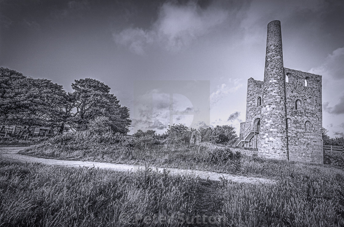 """""""An Engine House At Wheal Peevor"""" stock image"""