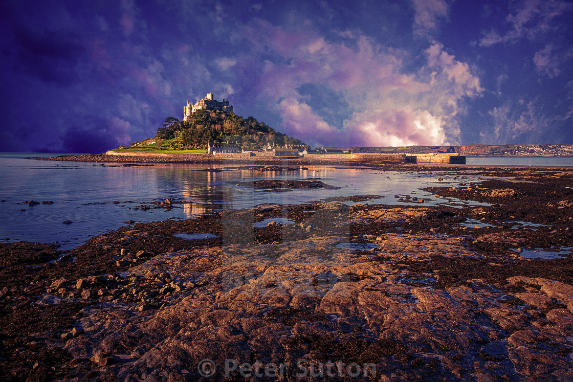 """Twilight Over St Michaels Mount"" stock image"