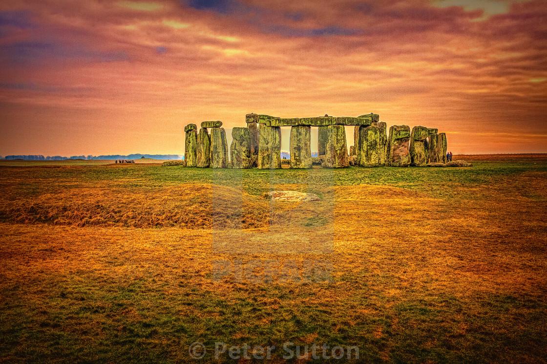 """Golden Stonehenge"" stock image"