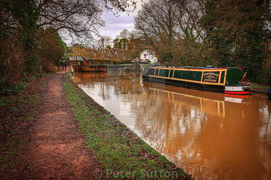 """""""Rain on the Staffs & Worcester Canal"""" stock image"""